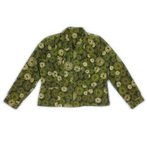 Vintage Green Denim Gilded Print Jacket